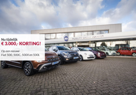 3.000 euro korting op een nieuwe Fiat 500, 500C, 500X en 500L